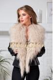 Молодежная кожаная куртка с мехом ламы
