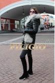 Зимний молодежный кожаный пуховик