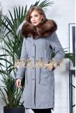 Длинная парка- пальто из кашемира и шерсти с отделкой из меха песца