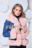 Джинсовая куртка с розовым мехом песца