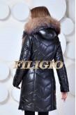 Кожаная удлиненная куртка с мехом чернобурки