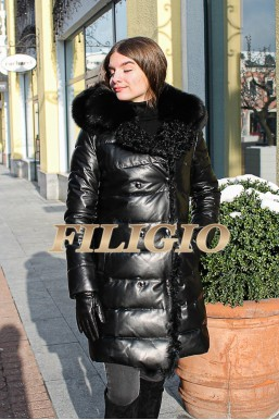 Зимний модный кожаный пуховик