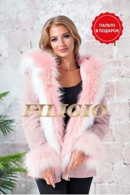 Модная розовая парка с мехом енота 75см