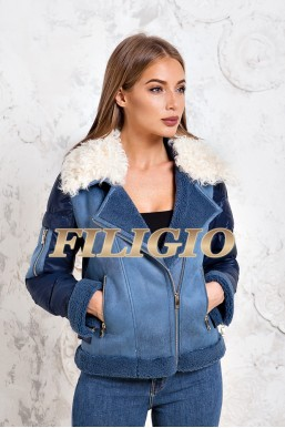 Комбинированная куртка - пуховик с отделкой из шерсти