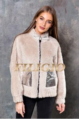 Модная куртка - шубка из набивной шерсти