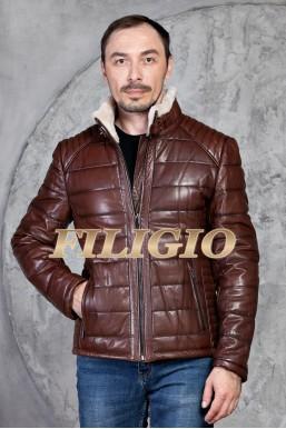 Модная кожаная зимняя куртка