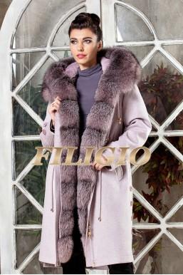 Длинная парка- пальто из кашемира и шерсти с отделкой из меха чернобурки