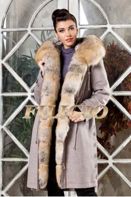 Длинная парка- пальто из кашемира и шерсти с отделкой из меха лисы