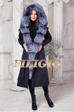 Длинная парка - пальто с мехом чернобурки 115см