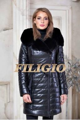 Кожаное пальто с отделкой из меха кролика